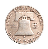 Antique silver half-dollar Royalty Free Stock Image