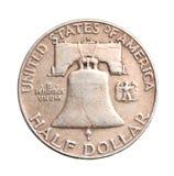 Antique silver half-dollar Royalty Free Stock Image