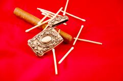 Antique silver match box cigar and matches royalty free stock photo