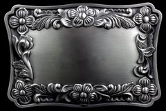 Antique silver picture frame with a decorative pattern Stock Photo