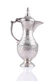 Antique silver pitcher isolated. On a white background Royalty Free Stock Photo