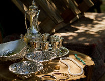 Antique silver plate for sale Stock Photography