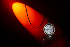 Antique silver pocket watch on a chain Stock Photos