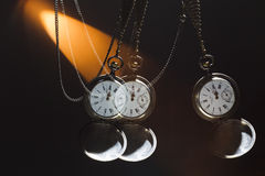 Antique silver pocket watch on a chain Stock Photo