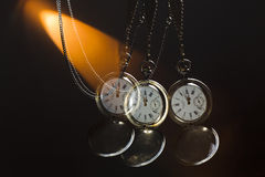 Antique silver pocket watch on a chain Royalty Free Stock Photo