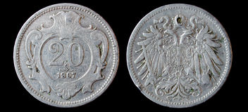 Antique silver ruble. Antique silver coin 1907 with emblem Stock Photography