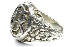 Antique silver seal ring Royalty Free Stock Photos