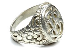 Antique silver seal ring Stock Image