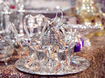 Antique silver set for coffee and tea Stock Photos