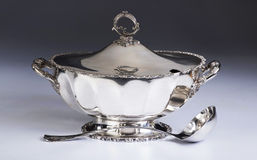 Antique Silver Soup Tureen. Stock Photography
