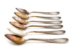 Antique silver spoon Royalty Free Stock Image
