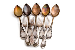 Antique silver spoon and fork Stock Photo
