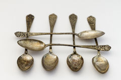 Antique silver spoons Stock Photography
