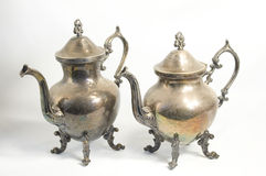 Antique silver tea pot and coffee pot Royalty Free Stock Image
