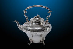 Antique silver teapot Stock Image