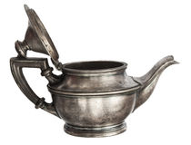 Antique silver teapot. Isolated on white background Royalty Free Stock Photo