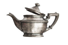 Antique silver teapot. Isolated on white background Stock Images