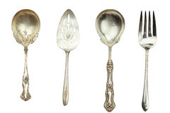 Antique Silverware. Isolated on white with clipping path included Stock Photography