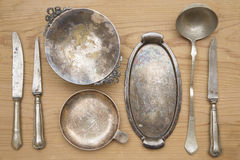 Antique silverware Stock Images