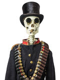 Antique skeleton with army jacket and sunglasses Stock Photography