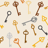 Antique skeleton keys. Seamless background with antique skeleton keys Stock Image