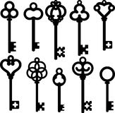 Antique skeleton keys. Silhouette set Stock Images