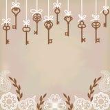 Antique skeleton keys. Hanging antique skeleton keys with floral decoration Stock Image