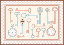 Antique skeleton keys and watch card. Antique skeleton keys and watch framed card vector illustration Stock Photos