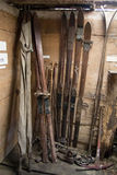 Antique Skis. A collection of antique wooden skis in a ski hut Stock Photo