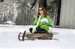 Antique Sled and Teen Stock Image