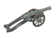 Antique small brass cannon isolated. Stock Photography