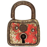 Antique small red metal padlock isolated on white. Antique small red metal padlock isolated on a white background royalty free stock photo
