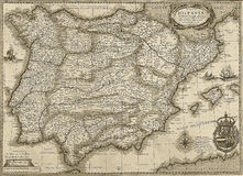 Antique Spain and Portugal map in sepia tone Royalty Free Stock Photo