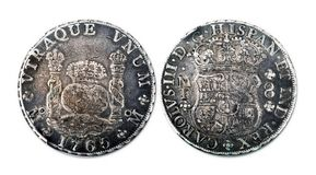 Antique Spanish Silver Dollar. stock images