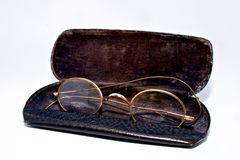 Antique spectacles  black case Stock Image
