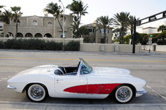 Antique Sports Car. White and red sports car parked on the street in Fort Lauderdale, Florida Royalty Free Stock Photography