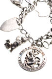 Antique st. christopher medal charm on bracelet. Isolated Stock Photo