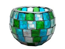 Antique Stained-Glass/Mosaic Candle Holder. Bowl, transparent Stock Photos