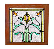 Antique Stained Glass Window Isolated. Royalty Free Stock Photography