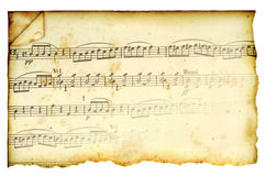 Antique Stained Music Score. Musical notes on vintage, yellowed paper Stock Illustration