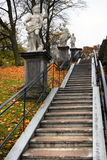 Antique stair. In Petergof park in Saint Petersburg, Russia royalty free stock photo
