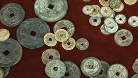 Antique stand. A stand selling antique coins Stock Photo