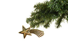 Antique star christmas ornament on branch Stock Images