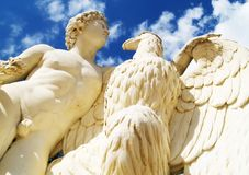 Antique statue. Man and eagle Royalty Free Stock Photo