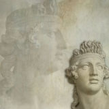 Antique statue background Stock Photo