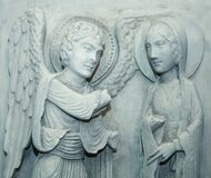 Free Antique Statue Of Annunciation. Angel Announces To Mary That She Will Conceive And Bear God`s Son Stock Images - 184392264