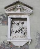 Antique statue on a Venetian building Royalty Free Stock Image