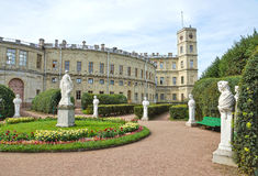 Antique statues in the garden next to Palace in Gatchina Royalty Free Stock Photography
