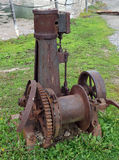 An antique steam winch on display Royalty Free Stock Images