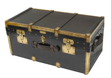 Antique steamer trunk, isolated Royalty Free Stock Images